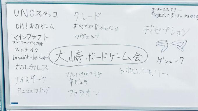 大崎ボードゲーム会で遊ばれたゲーム